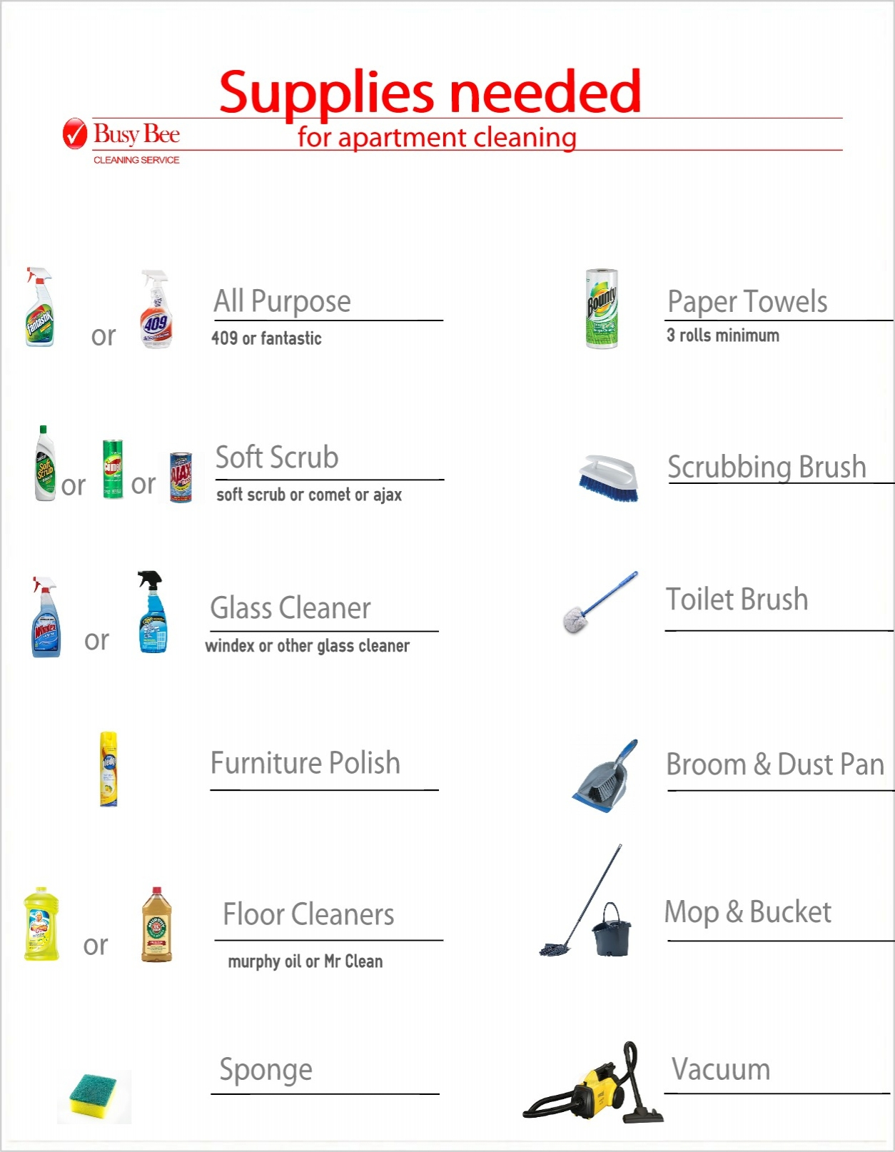 Apartment Cleaning Supplies List Busy Bee Service