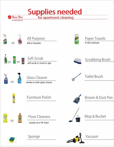 Apartment Cleaning Supplies List Busy Bee Cleaning Service
